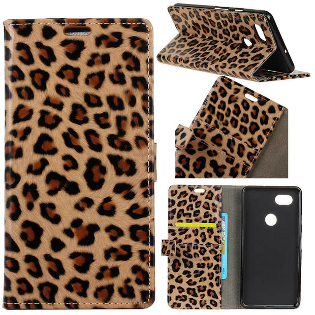 Sexy Leopard Pattern PU Leather Flip Stand Magnetic Snap Wallet Card Money Slots Case For ASUS Zenfone Max Plus M1 ZB570TL