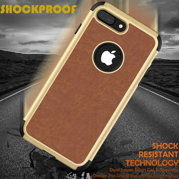 Shockproof Silicone Case For Iphone X 8 7 Plus Hybrid Armor 3 In 1 Cover For Apple Iphone 8 Plus Leather Phone Case & Back Cover