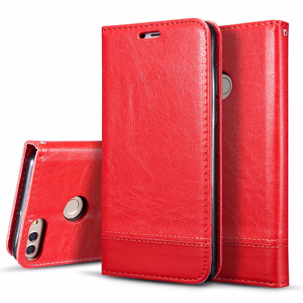 "Splicing Leather Flip Cover For Huawei Y9 2018 Y 9 Y92018 5.93"" Double Litchi Magnetic Phone Case Coque For Huawei Enjoy 8 Plus"