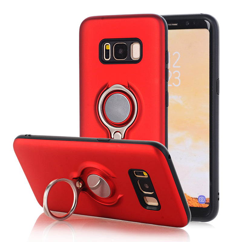 TPU Silicone Case+ring Kickstand Plain Color Plastic Cover For Samsung Galaxy S8 S8+ Plus Funda Hoesje Coque Etui Kryt Tok Husa