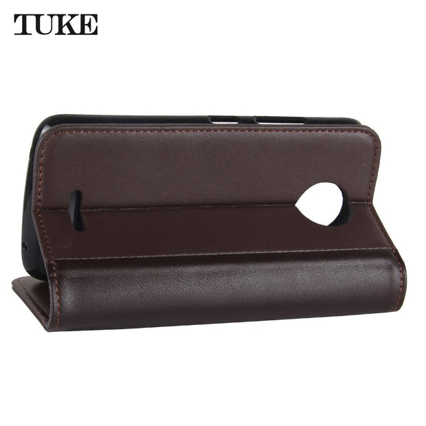TUKE For Motorola Moto C 2017 Wallet Genuine Leather Phone Case For Motorola Moto C 2017 XT1750 XT1754 Cases Flip TPU Cover Bag
