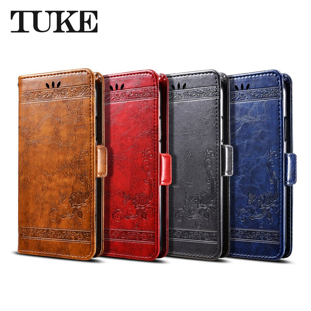 TUKE For Motorola Moto C E4 Plus Mobile Phone Case Vintage Embossed Flower Flip Case For Moto E4 Plus U.S Version Z2 Z3 Z Play