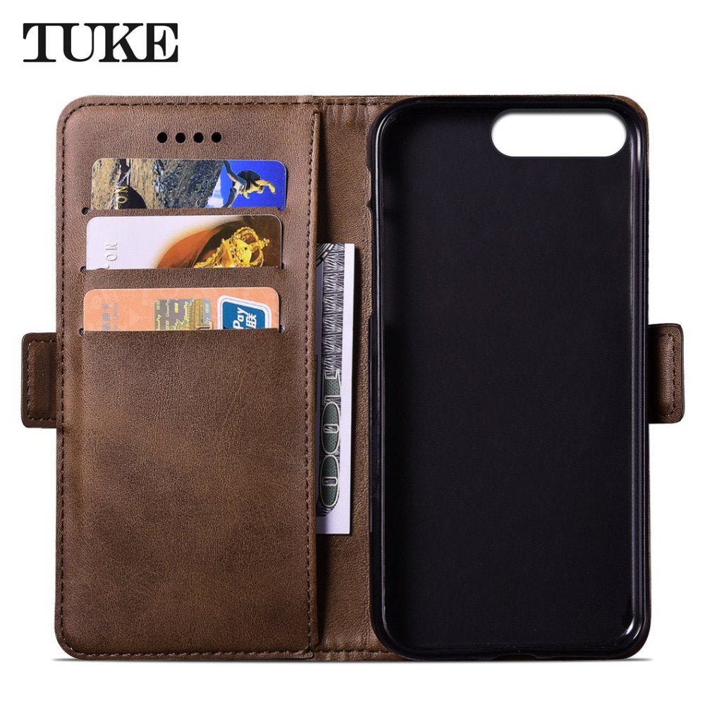 TUKE For IPhone 7 Plus Case For IPhone 8 Plus Case Cover Flip Leather Case For Apple IPhone 7 8 Plus Cover Business Phone Case