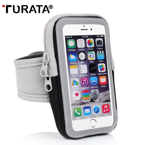 TURATA Universal Arm Band Bag For IPhone 5 5S SE 6 6S 7 Meizu Xiaomi Samsung Within 4.7 Inch Zipper Running Sports Arm Bag Case