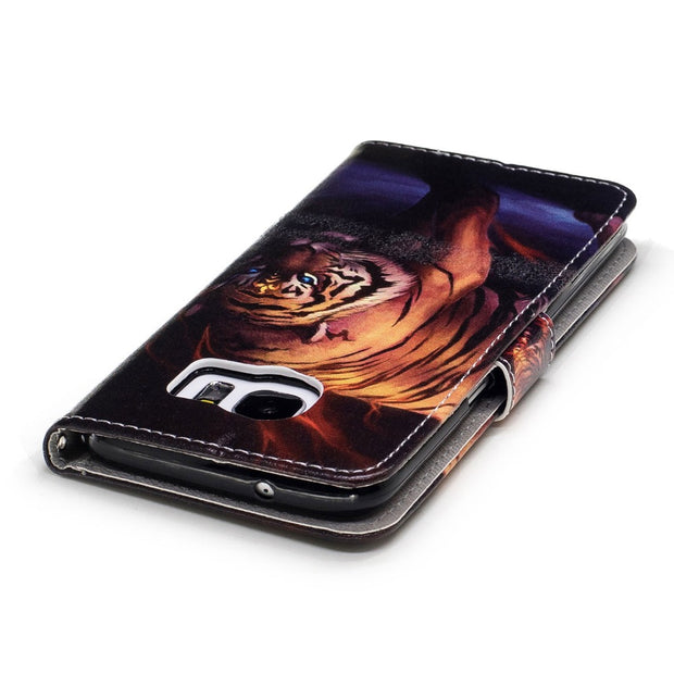Tiger Flip Leather Case For Samsung Galaxy S7 EdgeLuxury Cover Wallet Phone Case With Hand Strap Style