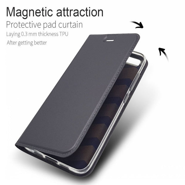 Ultra-thin Magnet Leather Case With Soft Silicone Cover For Xiaomi Mi 6 Mi6 5.15inch Coque Capa Funda + Card Slot & Stand Holder