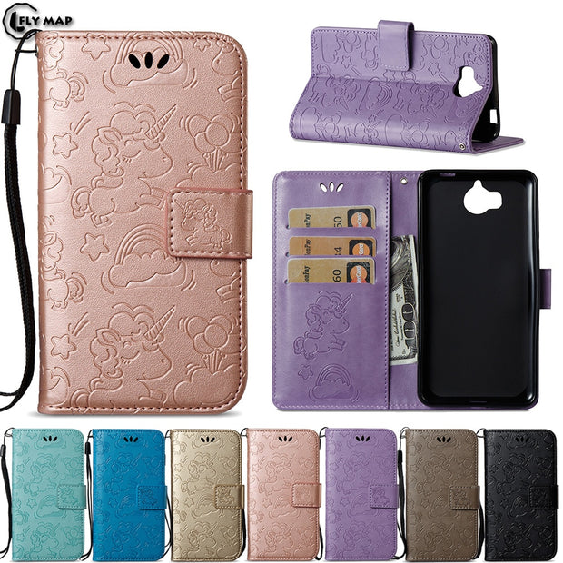 Unicorn Flip Cover For Huawei Y5 2017 MYA-L22 MYA-U29 Y5 III Case Wallet  Phone Shell Coque For Huawei Y 5 2017 MYA L22 U29 Bag