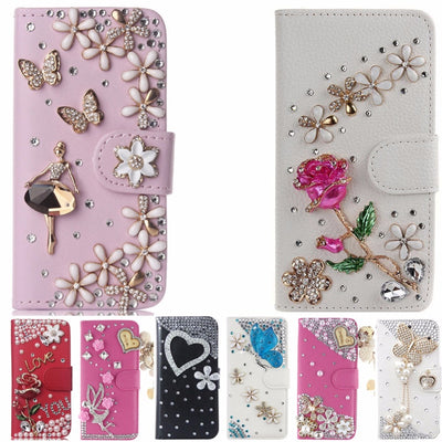 Unique&Beautiful Card Slots Case For Meizu M2 Note/Meilan Note2,Bling Crystal Diamond Leather Wallet Stand Flip Case Cover