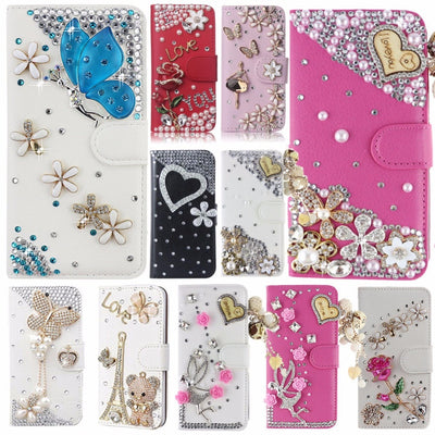 Unique&Beautiful Card Slots Case For Meizu Pro 6,Bling Crystal Diamond Leather Wallet Stand Flip Case Cover