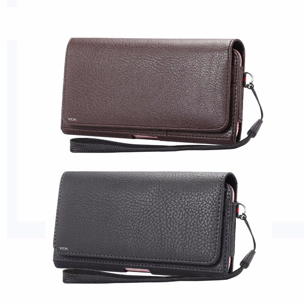 VCK Universal Belt Clip Litchi Leather Card Wallet Phone Bag Case For IPhone Xiaomi Huawei Sony Hang Waist Phone Sport XL L M S
