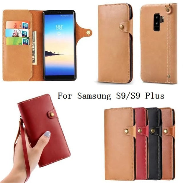 Vintage PU Leather Folding Flip Wallet Case Card Slots And Hand Straps Protective Cover For Samsung Galaxy S9 / S9 PLUS