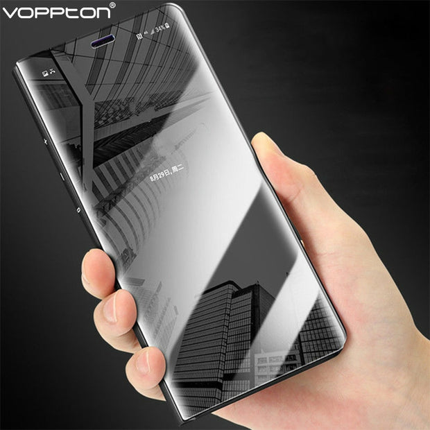 Voppton Plating Mirror Flip Case For OPPO F9 Pro Luxury Leather Flip Stand Back Cover For OPPO F9 F9 Pro Case Shockproof Fundas