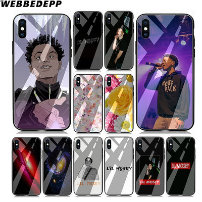 WEBBEDEPP BL18 Lil Mosey Rapper Tempered Glass TPU Black Case For IPhone X Or 10 8 7 6 6S Plus 5 5S SE Xr Xs Max Soft Cover