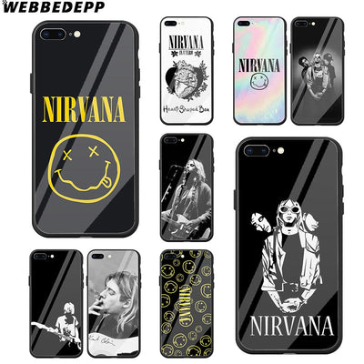 WEBBEDEPP Nirvana Kurt Cobain Bands Tempered Glass Phone Case For Apple IPhone Xr Xs Max X Or 10 8 7 6 6S Plus 5 5S SE 7Plus
