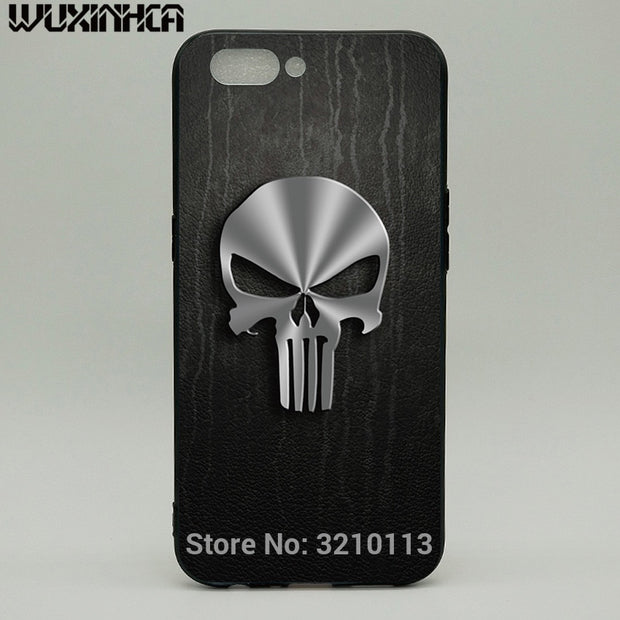 WUXINHCA Shockproof Phone Case For OPPO R11 Cases The Punisher Skull Pattern Soft TPU Silicone Back Cover For OPPO R11 R11S Plus