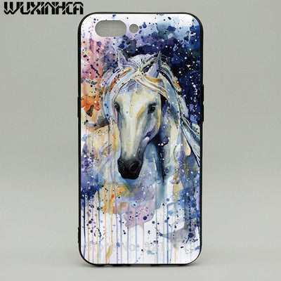WUXINHCA Shockproof Phone Case For OPPO R11 Cases Watercolor Horse Pattern Soft Silicone Back Cover For OPPO R11 R11S Plus
