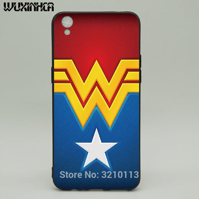 WUXINHCA For OPPO R9 Case Black Silicon Soft TPU Back Cover For Oppo R9 R9S Plus Wonder Woman Pattern Phone Cases