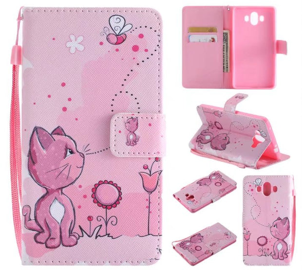 Wallet Flip Leather For Huawei Mate 10 Lite Cover Skull Leopard Pink Cat Tower Poker Soft TPU For Wahway Mate 9 Mate10 Case