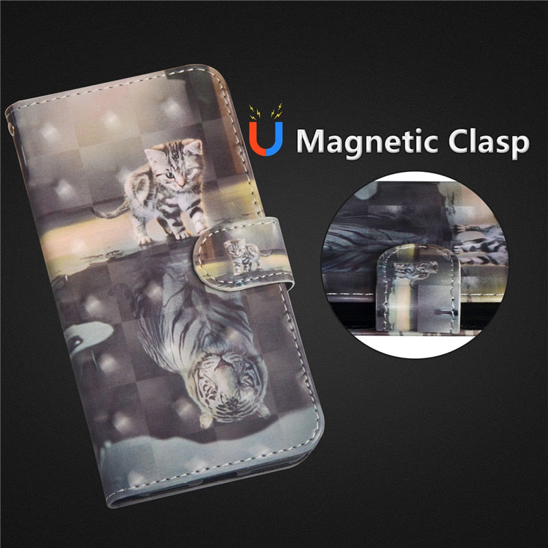 Wekays Cover For Moto E4 Cute Cartoon Cat Leather Case For Coque Motorola Moto G5S G6 Plus X4 E4 E5 C Plus Z3 Play Cover Case