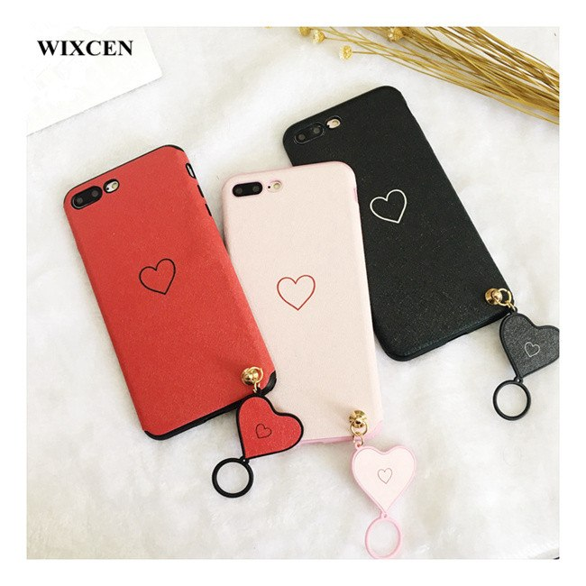 Wixcen Silk Pattern Love Heart Cover With Ring Pendant Case For Iphone X 7 7plus 6 6s Plus 8 Simple Pink Red Soft Tpu Case
