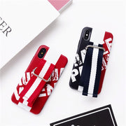 Wrist Band For Iphone 7 Case Soft TPU Phone Cover For IPhone 8 8 Plus FOR Iphone 6 Plus Blue Red Bottom Couple Fashion Capa