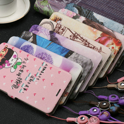 "X9007 Funny Patterned Cartoon Cute Leather Flip Cover Phone Case For OPPO Find 7 X9007 5.5"" Case With Magnet And Lanyard MC02"