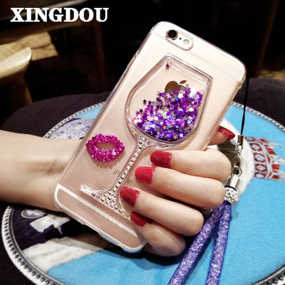 XINGDUO For Meizu M3 Note Phone Case Quicksand Rhinestone Wine Glass Pattern Phone Case With Hang Rope For Meizu U10 /pro 6