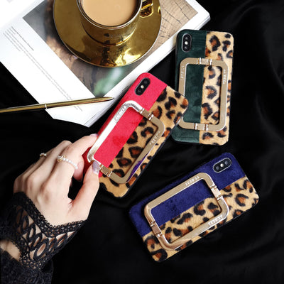 XR Luxury Designer Leopard Novelty Metal Stand XR Phone Case Leather Cover For IPhoneXs Max 7/8Plus 6s 7P Skinny Capa Protection