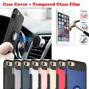 XSKEMP For OPPO R11 R9s R9 Plus A59 Car Ring Holder Phone Case Cover Shell With 9H LCD Real Tempered Glass Screen Protector Film