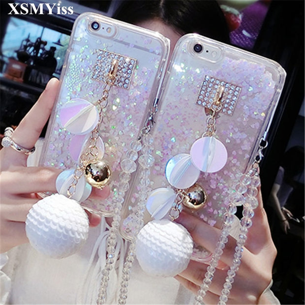 XSMYiss For Samsung S6 S7 Edge S8 S9 Plus Note5 8 Luxury Bling Rhinestones Diamond Quicksand Glitter Sand Back Cover Phone Case