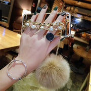 XSMYiss For IPhones Xs Max 5 SE 5S 6 7 8 6plus 7/8plus Luxury Cute Fur Ball Soft Back Cover Pearl Bracelet Phone Case Pompom