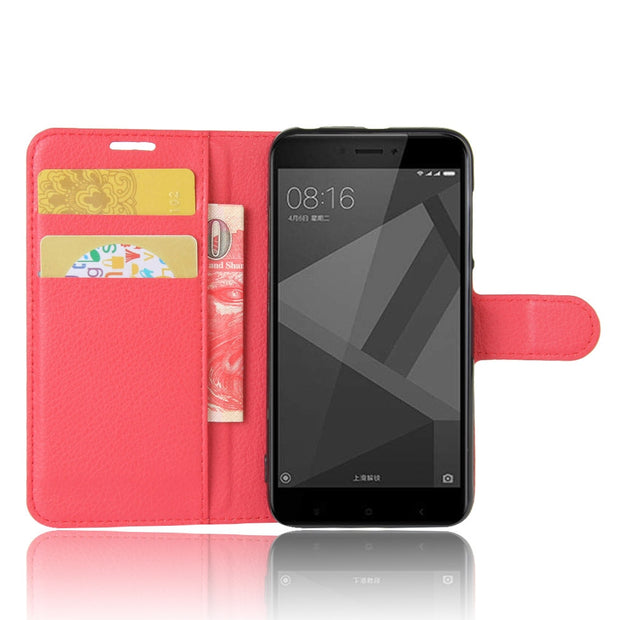 Xiaomi Redmi 4X Case Cover Flip Leather Xiami Redmi 4x Case Silicone TPU Back Original Size Redmi4x Case Hard Metal 5.0 Capas