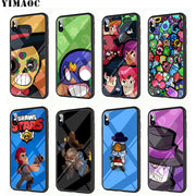 YIMAOC Brawl Stars Tempered Glass TPU Black Case For IPhone X Or 10 8 7 6 6S Plus 5 5S SE Xr Xs Max Phone Cover