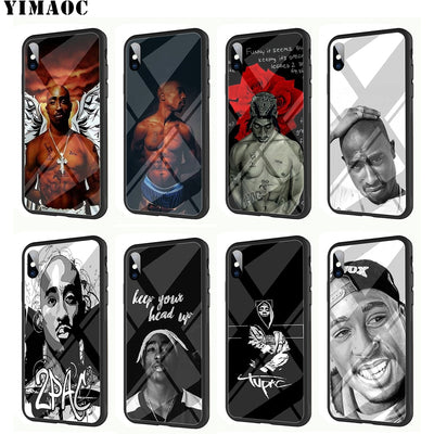 YIMAOC Tupac 2 Pac Rapper Tempered Glass TPU Black Case For IPhone X Or 10 8 7 6 6S Plus 5 5S SE Xr Xs Max Phone Cover