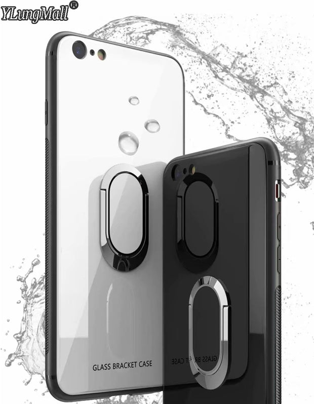 YLungMal Tempered Glass Phone Case For IPhone 6 8 7 Plus Magnetic Car Stand Ring Holder Back Cover For IPhone X Case Capa Coque