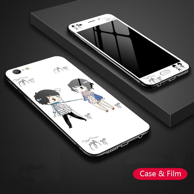 YSW For OPPO A57 A59 A79 A73 A83 Tempered Glass Patterned Case With Matched Painted Screen Protector For OPPO A59 Cover Film
