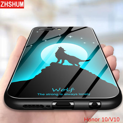 ZHSHUM Luminous 9H Tempered Glass Cases For Huawei Honor 10 V10 Silicone Four Corners Edge Covers For Huawei Honor View 10 Shell