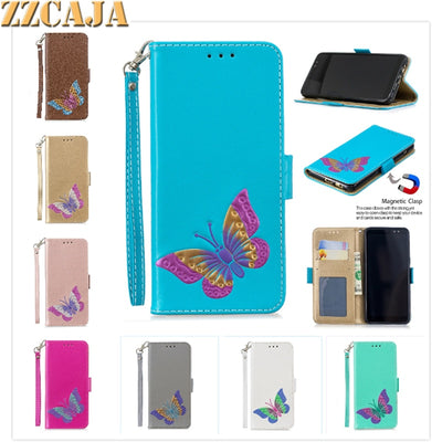 ZZCAJA For Samsung A8 2018 A3 A5 2017 Case Luxury Pu Leather Butterfly Flip Wallet Cover For J3 J5 J7 2017 Fundas With Strap