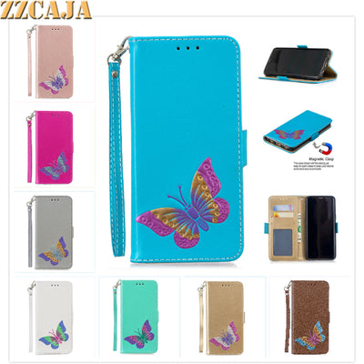 ZZCAJA For Samsung S7 Edge Case Luxury Pu Leather Bag Cute Butterfly Flip Wallet Covers For Sasmung S8 S9 Plus Fundas With Strap