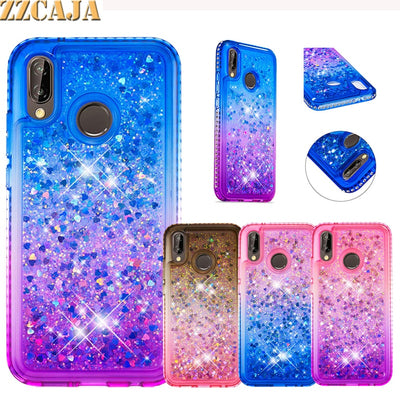 ZZCAJA Luxury Jewelled Diamond Fundas For Huawei P20 Lite Case Pink Glitter Shiny Dynamic Liquid Quicksand Cover For Nova 3E Bag