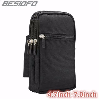 Zipper Holster 4 Pockets Cover Hook Loop Pouch With Waist Belt Bag Phone Case For OPPO F1 F3 F5 F7 7A R9 R9S R11 R15 R17