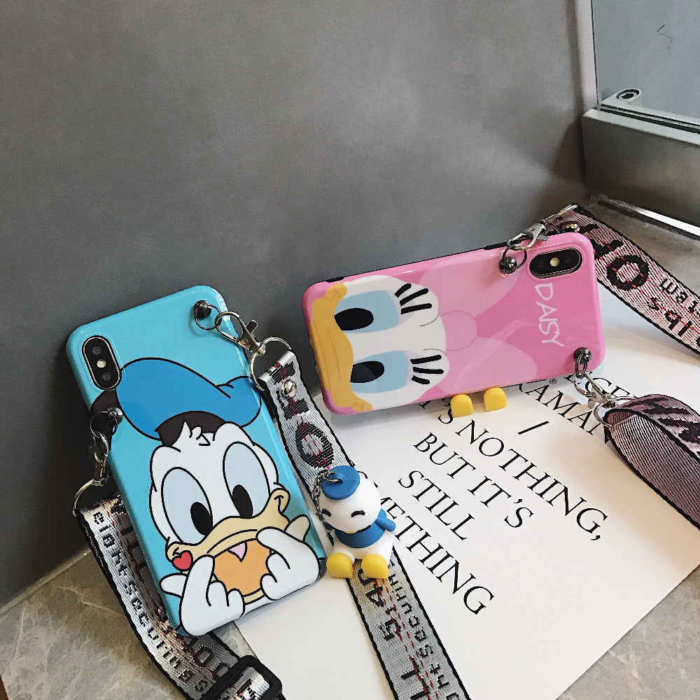 Fashion Cartoon Bracket Doll Hanging Neck Rope Funny Donald Duck Daisy Mobile Phone Case For Iphone 6s 6 7 8 Plus X 10 XR XS MAX