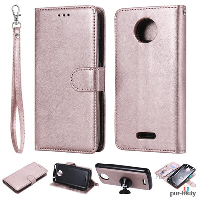 For Motorola Moto C Plus Cplus XT1725 XT1726 Phone Cases Car Bracket Luxury Wallet Clip For Case Moto Cplus Flip Card Holder