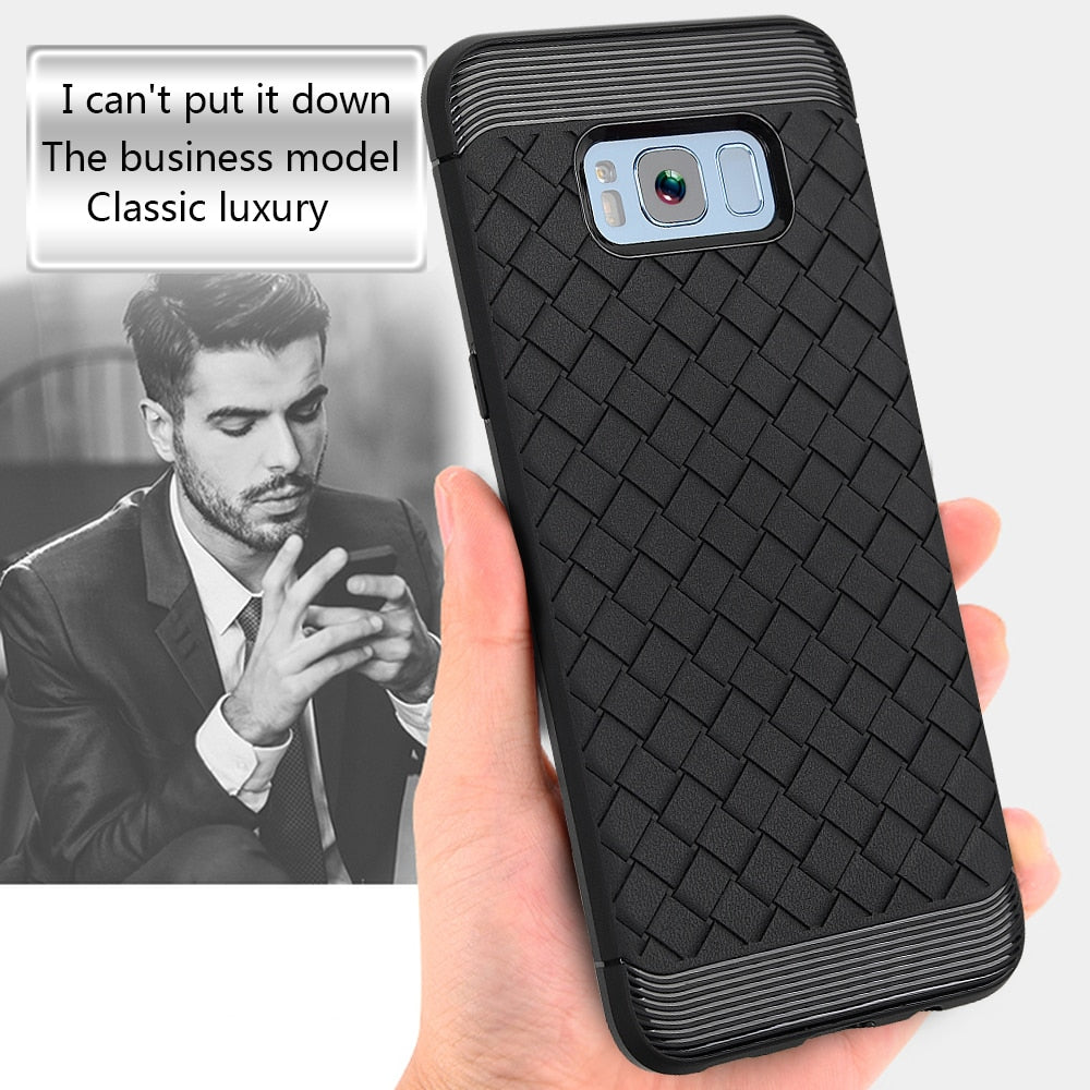 For Samsung Galaxy S8 Plus Case Luxury Weave Texture Soft Shockproof Protective Cover Rubber Silicone TPU Soft Skin Shell Bag
