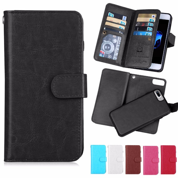 For Iphone 7 Plus Phone Case Wallet Case Card Pocket For Apple Iphone 6 6s 7 8 Luxury Flip Case For Iphone 8plus 6s Plus 2 In 1