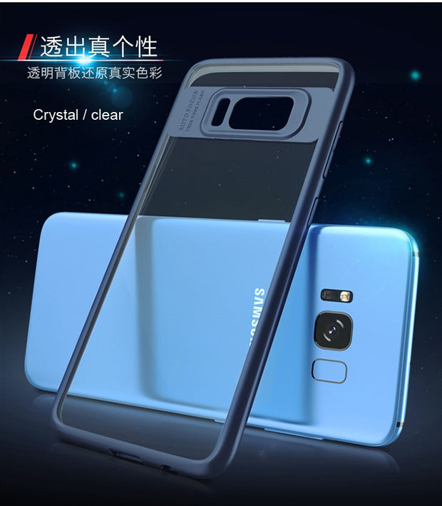 IPaky Crystal Transparent Cover Case For Samsung Galaxy S8 Plus Ultra-thin TPU Frame + Clear Acrylic