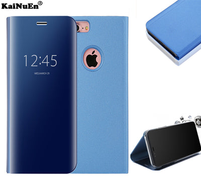 Kainuen Luxury Hard Mirror Pu Clear View Stand Flip Leather Etui,coque,case,cover For Apple Iphone 6 S 6s For Iphone6 Phone Blue