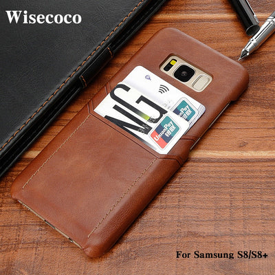 Leather Wallet Case For Samsung Galaxy S8 S8plus Coque Luxury Credit Card Holder Slim Hard Back Cover For Samsung S8 Plus Casing