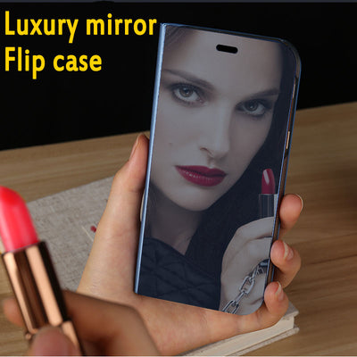 Luxury Mirror Flip Case For OPPO Find X F5 R15 Smart View Window Case For OPPO FindX A59 A83 Plating Stand Phone Cover Case