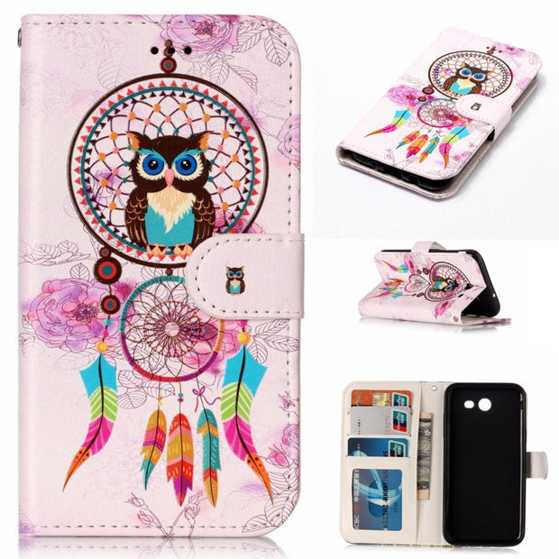 SzHAIyu Luxury 3D Cartoon Pattern Mobile Phone Case For Samsung J3 2017 PU Leather Flip Cover For Samsung J3 2017 Case Cover